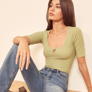 Reformation Jeans Top L Green Kourtney Ribbed Tee